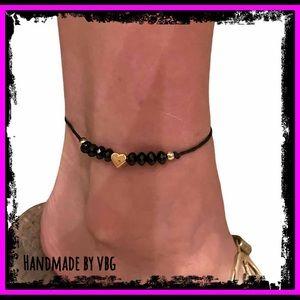 🆕 Gold Heart & Black Beaded Hemp 9k Gold Anklet